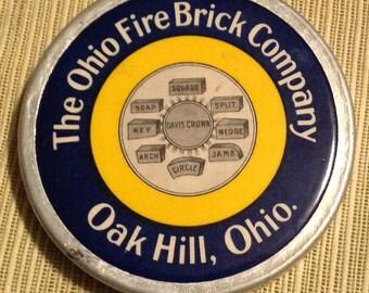 The Ohio Fire Brick Company Oak Hill Ohio Vintage Metal Advertising Souvenir Paperweight Box