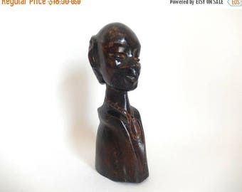 """Vintage Hand Carved Wooden 9.75"""" Tall Bald Man Bust Art Carving"""