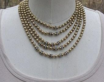 Big Bold Chunky necklace, Layering Necklace, Multi Strand Necklace, Vintage Rhinestone Bead Necklace, Choker Necklace