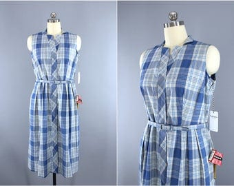 Vintage 1950s Dress / 50s Mary Mac Day Dress / Blue & White Plaid Cotton Sleeveless Sundress / Deadstock with Tags