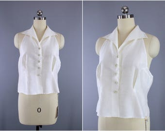 Vintage 1950s Blouse / 50s Sleeveless Blouse / New Look blouse / Dawn Blouse Company / White Shirt / Backless Halter Racer