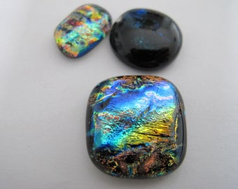 Three Freeform Uncalibrated Dichroic Glass Cabochons
