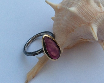 Sterling Silver Ring Tourmaline Gemstone Ring Pink Tourmaline Ring Mine Jewellery