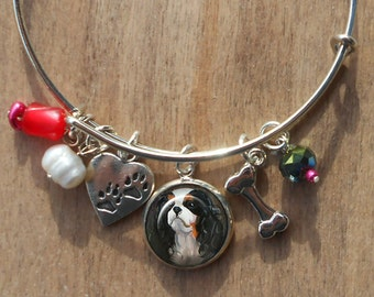 Cavalier King Charles Charm Bracelet ~ Girlfriend Gift ~ Dog Charm Bracelet ~ Wire Bangle ~ March Birthday