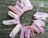 Pink Luster Quartz Points  35-20mm 4 inch strand