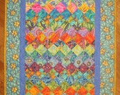 Art Deco Art Quilt, Paisley Turquoise, Orange, Yellow Purple Fabric Wall Hanging, Wall Art Textile, Watercolor Quilt 20x41""