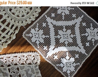 6 Antique and Vintage Crochet Pieces and Lace, Lot Suitable for Collecting or Repurposing 13715