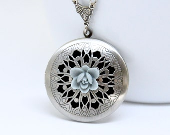 Dusty Blue Flower Locket Necklace, Antique Silver Locket, Filigree Locket, Lotus Flower Locket, Flower Necklace, Floral Scent Locket Pendant
