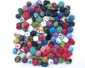 Kazuri Beads, 100 Kazuri Beads, Rainbow Coloured Ceramic Beads, Kazuri African Beads No 296