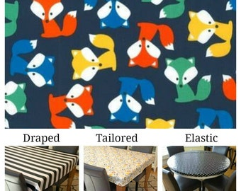 Laminated cotton aka oilcloth tablecloth custom size and fit choose elastic, tailored or draped Robert Kaufman bright foxes on dark blue