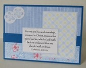 We Are His Workmanship Christian Birthday Card In Blue Spring Flowers With Scripture