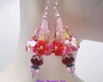 Pink ,Red & White Floral Lampwork Cone Shaped Earrings. Red, White and Pink Floral Earrings