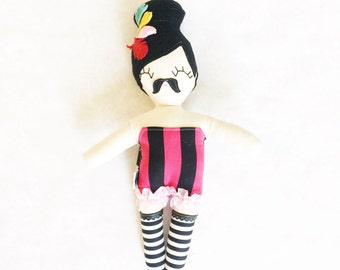 Maisie Moustache, Bearded Lady Rag Doll - Ready to Ship