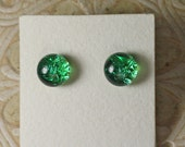 Dichroic Glass Earrings, Mineral Green DGE-951