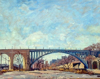 High Bridge, Winter LIght, NYC. Original 12x20 Oil Painting on Panel, Urban Industrial Realist New York City Fine Art, Signed Original