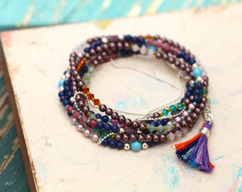Multi Beaded Strand Necklace With Dangles in a Kaleidoscope of Colors