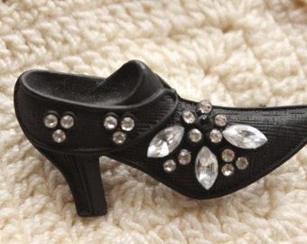 1980's Shoe Pin With Rhinestones
