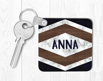 Marble Keychain Monogrammed Key Chain Housewarming Gift Wood Keychain Personalized Keychain Wood Key chain Custom Keychain Navy Blue