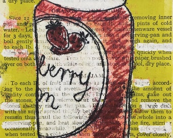 Giclee Print of an original monoprint on vintage book paper strawberry jam mrs beeton