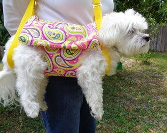 """Ouilted Pet Sling Carrier in"""" Yellow & Pink  Paisley"""" READY TO SHIP"""