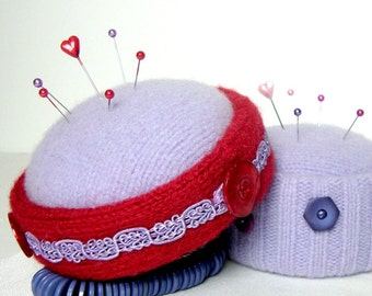 Purple n Red Pincushion OOAK Wool Handmade Pin Brooch Display