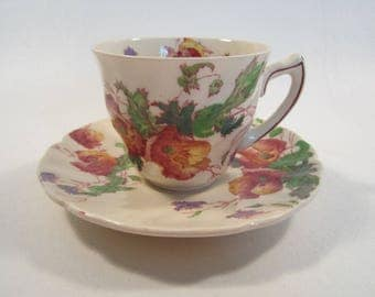 Vintage Royal Doulton Demitasse Cup Saucer Set Sherborne England Wildflowers Tea Party