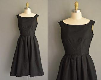 timeless 50s black cotton twill vintage dress. 50s classic black dress. vintage 1950s dress