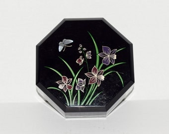 Octagonal Black Plastic Powder Box Decorated with Lillies and Butterfly - Rare Vintage