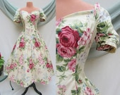 Vintage 80s Dress, Floral Sweetheart, Bustle, Big Bow, Pin Up, Rockabilly, Full Skirt, 50s Look