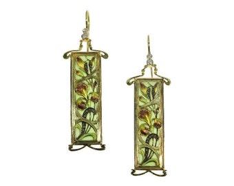 Floral Enamel Earrings - Art Nouveau plique ajour flower yellow gold 18kt diamond Fine antique earrings 1900s ref.11139-0001