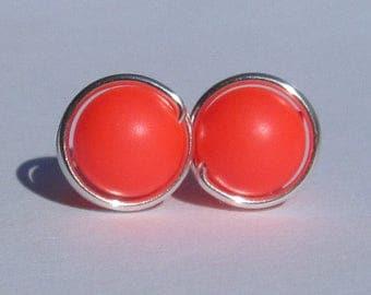 Large Neon Red Pearl Stud Earrings (10mm), Swarovski Pearl Stud Earrings, Wire Wrapped Sterling Silver Stud Earrings, Big Red Stud Earrings