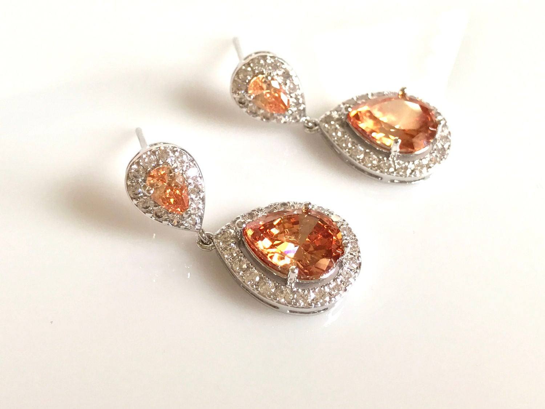Champagne Bridal Earrings Wedding Jewelry Faceted Cubic Zirconia Drop  Crystal Earrings Vintage Inspired Wedding Earrings Bridesmaids Jewelry