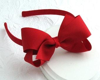 Red Hair Bow, Red Headband, Girls Christmas Headband, Toddler Headband, Red Bow Headband for Little Girls, Hard Plastic Headband