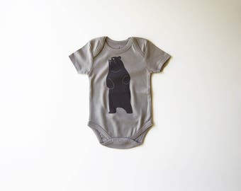 Organic Cotton Baby Bear Bodysuit | Unisex Baby Clothes | Hand Printed Clothing  | Infant One Piece | Little Brown Bear | Gender Neutral
