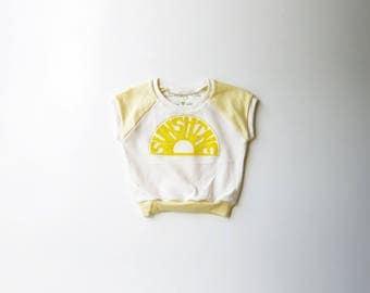 Organic Kids Sun Shine Cap Sleeve Raglan | Toddler Short Sleeve Shirt | Babies Natural Cotton Shirt | Screen Printed | Yellow | Hipster
