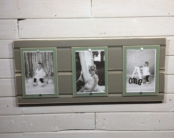 Distressed wood picture frame triple 4x6 brown gray and green