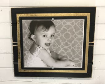 "Black and gold picture frame holds 8""x10"" New Orleans colors/school colors/graduation"