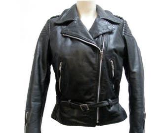 Vintage Womens Motorcycle Jacket Hein Gericke Made for Harley-Davidson Black Leather Belted Biker Jacket Womens US Size 36 Cycle Jacket