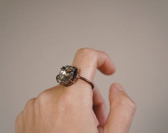 LAST ONE // Pyrite + Copper Ring 6 // OOAK
