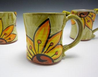 Ceramic Coffee Mug - Pottery Coffee Mug - Gift for Her - Mom Gift - Pottery Mug - Yellow Orange Sunflower - Majolica - Green - 15 ounces oz