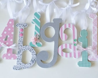 Nursery Wood Letters, Baby Girl, PINK AQUA and GREY, Custom Wooden Letter, Hanging Name Decor,avail in any size or font in this shop