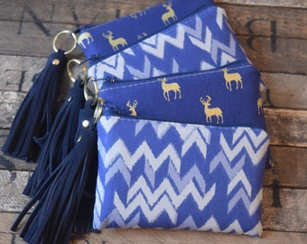Oh Deer Coin bags with Leather Tassel, Navy and Gold Deer, Deer Bag. Coin Purse, Coin Bag, Bridesmaids Gift, Coin Wallet