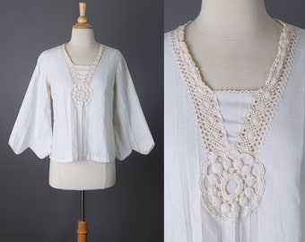 vintage ivory crocheted lace blouse 1970s boho hippie top