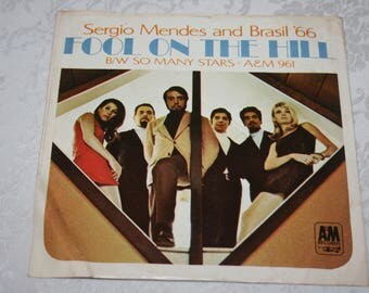 Vintage 45 RPM Record, Sergio Mendes and Brasil '66 Fool On The Hill & So Man Stars