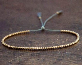 Sale Halloween Solid 10k Yellow Gold Beaded Friendship Bracelet, delicate bracelet with dainty beads with silk