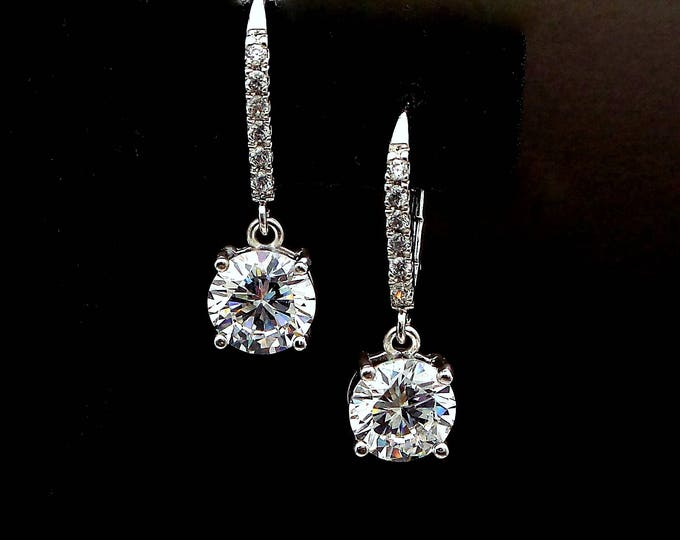 bridal wedding jewelry bridesmaid gift prom Cubic zirconia 8mm round solitaire drop AAA cubic deco rhodium sivler leverback hook earrings