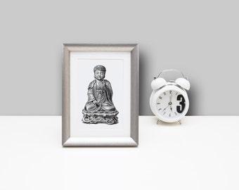 Framed Art , 5x7 inches, Framed Buddha Print, Wall Art Prints, Namaste, Zen, Framed Wall Art , Home Decor, Trending Now, Trending