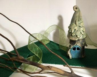 SALE Handmade Ceramic Fairy House / Night Light  / Tree House / Candle Holder / Unique Gift / OOAK
