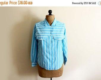 SALE ON SALE Sale vintage shirt blouse turquoise 80s white striped button down classic size medium m large l