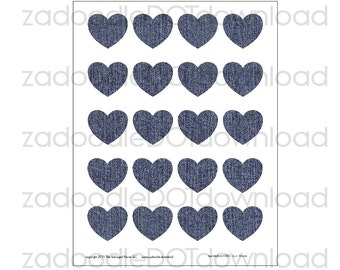 Page of Hearts Digital Paper, Blue Denim, Heart Clip Art, Love Themed Paper, Valentine Hearts, JPG File, Instant Download Images, 212045